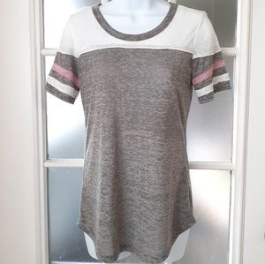 Poof Stripe Sheer Pink White and Gray Top